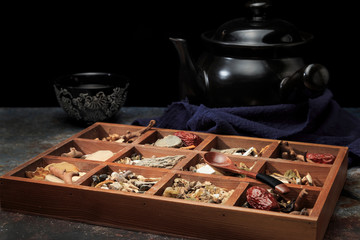 Chinese medicine and the casserole needed to make Chinese medicine Wall mural