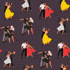 Seamless pattern with a dancing studio rehearsal that can be used for wrapping, fabric and other decor. Vector illustration of a young men and women attending dancing classes in a dance studio.
