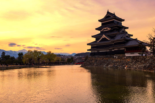 Matsumoto castle with twilight sunset sky