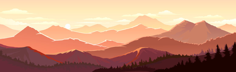 Red and Orange tinge of the mountain landscape and forests Papier Peint