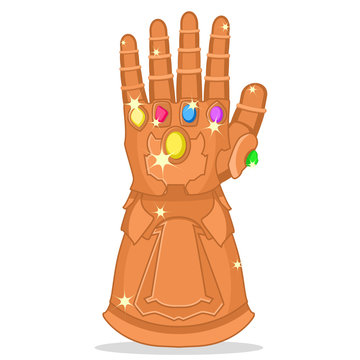 Glove Thanos with the stones of strength, glitters on a white. Superhero.