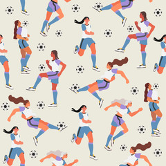 Seamless pattern with women playing soccer or football on a light grey background that can be used for wrapping, fabric, wallpaper, textile and other decoration.