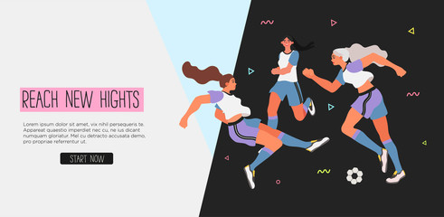 Vector illustration of women in a uniform playing soccer, football. Creative banner, poster or landing page for woman soccer game or girl football club.