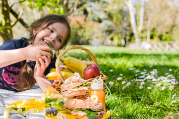 Little girl in the park at a picnic. Green grass and summer nature. Meal for lunch in the open air.
