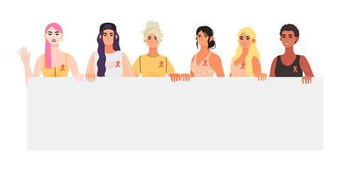 Vector banner, flyer illustration with diverse beautiful strong women with a placard that are supporting each other and informing other people about breast cancer. Breast cancer awareness month.