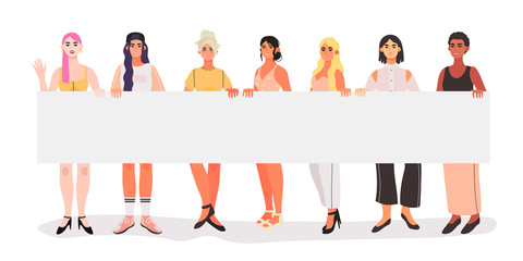 Vector illustration of diverse beautiful strong women with a placard that are fighting for their equality and rights, supporting each other. People at demonstration. Character design in a flat style.