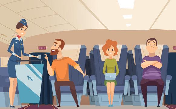 Avia passengers. Boarding stewardess offers food to sitting man in airplane board vector cartoon background. Illustration of airplane stewardess, professional hostess transport