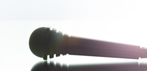 The microphone on the stage before debate.