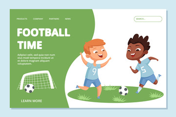 Football landing page template. Sport team kids vector character. Illustration of football game, soccer school kids