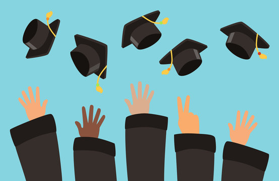 Students throw graduation caps into the air vector background. Illustration of celebration graduation school or university