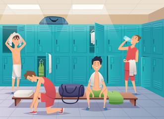 School locker room. Sport gym locker with kids in college vector cartoon background. Locker room gym, sport dressing with bench illustration