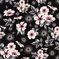 Seamless pattern pink pastel color wild rose flowers on black background.Vector illustration hand drawing doodle.For used wallpaper design,textile fabric or wrapping paper.