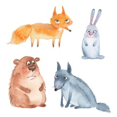 Animal set. Fox, wolf, bear and hare. Watercolor illustration isolated on white