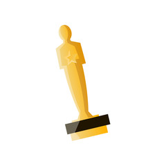 Oscar gold cup for cinema or film modern production