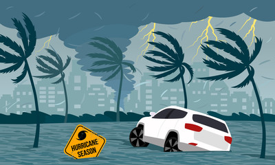Tornado hurricane Florence, emerging from the ocean. Flooding the city and cars. Car accident. A tropical catastrophe and a sign of disaster. flat vector