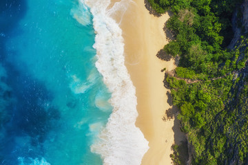 Aerial view at sea and beach. Turquoise water background from top view. Summer seascape from air. Summer adventure. Travel - image
