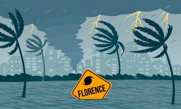 Tornado hurricane Florence, emerging from the ocean. Ecological catastrophe and the sign of the catastrophe drowned in the flood. flat vector