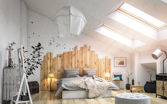 Gemütliches Schlafzimmer mit viel Holz im Dachgeschoss