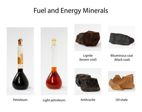 Fuel and energy minerals: oil, petroleum, lignite, brown and black coil, anthracite and shale on white background potentially for economic news on fuel and energy markets prices