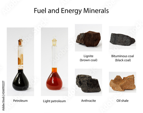 Fuel and energy minerals: oil, petroleum, lignite, brown and