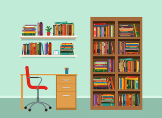 interior cabinet with a bookcase and shelves, furniture. flat vector