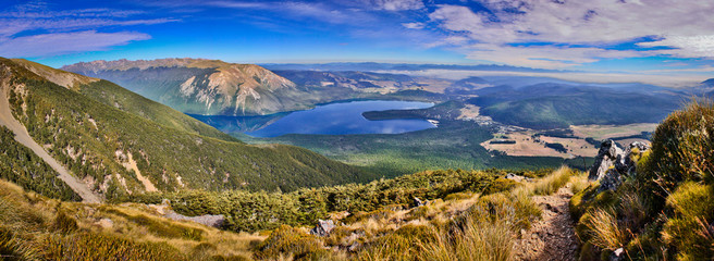 On the way up to the most beautiful view of Nelson lakes national park in New Zealand