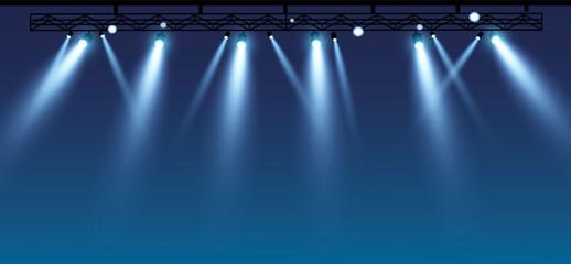 Fototapeta Vector stage with set of blue spotlights. Blue stage lights. esp 10