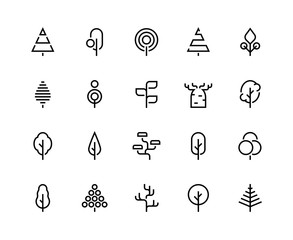Trees line icons. Simple minimalist plants, organic geometric abstract shapes of leaves and pine forest trees. Vector beauty tree logo set