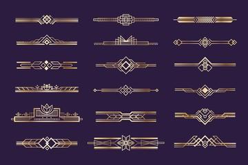 Art deco set. Vintage 1920s golden ornament, nouveau style headers and dividers, retro border element. Vector design golden art deco border template