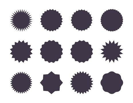 Starburst sale sticker. Sunburst price tag, promotion star set, black silhouettes on white background. Vector sale stickers jagged edge