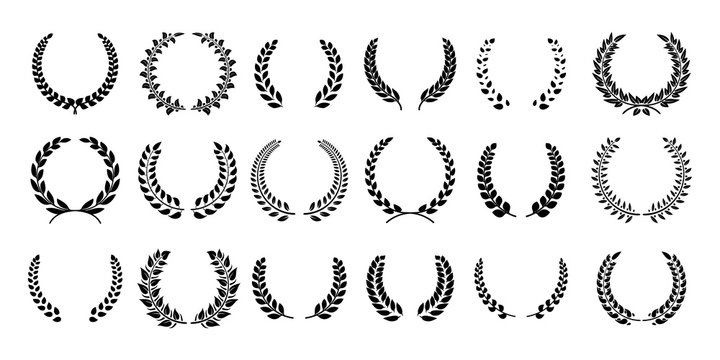 Silhouette laurel wreath. Greek olive branch, champion award emblems, leaves round prizes symbols. Vector illustration black laurels wreath