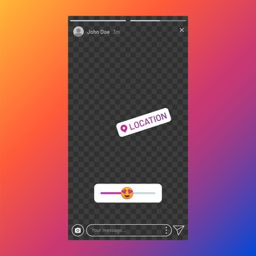 Instagram stories interface. Poll element in social media, stories UI template, stories response sticker. Vector beauty app interface slider