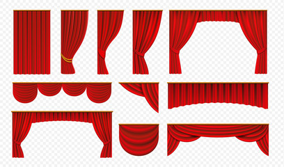 Realistic red curtains. Theater stage drapery, luxury wedding cover decoration, theatrical borders. Vector opera silk or velvet isolated on white
