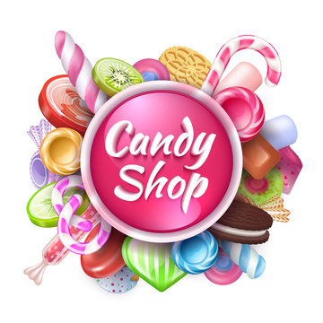 Candies background. Realistic sweets and desserts frame with text, colorful toffees lollipops and caramel bonbon. Vector isolated sweets set