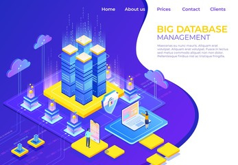 Database isometric concept. Server business technology landing page, business infographic web page. Vector illustration isometric background online support