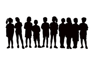 children waiting in line, silhouette vector