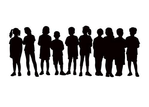 children waiting in line, silhouette vector