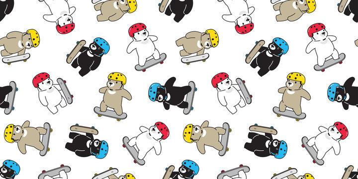 Bear seamless pattern skateboard vector polar bear skating helmet repeat wallpaper tile background scarf isolated