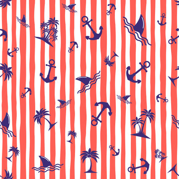 Seamless pattern with anchors. Background in marine style. Vector illustration.