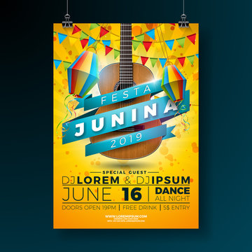 Festa Junina Party Flyer Illustration with Typography Design and Acoustic Guitar. Flags and Paper Lantern on Yellow Background. Vector Brazil June Festival Design for Invitation or Holiday Celebration