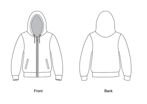 Hoodie on the front zipper vector. Spotswear template vector.