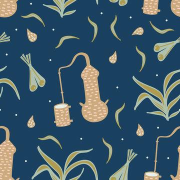 lemongrass distillation seamless pattern