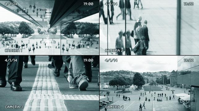 CCTV Split Screen Surveillance Security Camera Background