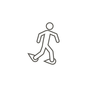 Walking with snowshoes vector icon. Simple element illustration from map and navigation concept. Walking with snowshoes vector icon. Real estate concept vector illustration.