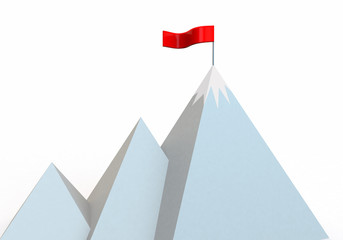 cartoon mountain with flag at summit