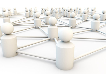 white 3d render of a network of people