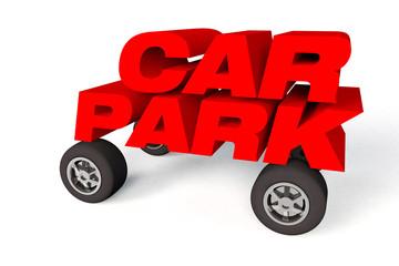 car parking sign or logo on wheels