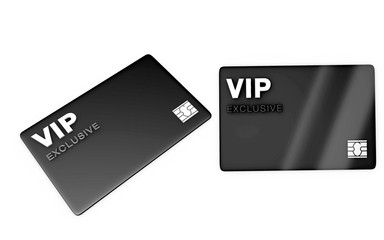 vip MEMBERS EXCLUSIVE card on WHITE BACKGROUND, DIFFERENT ANGLES