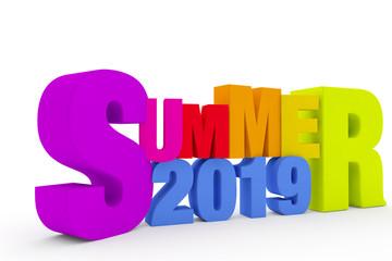 SUMMER 2019 TEXT 3D RENDER