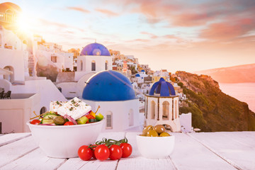 Greek food background. Traditional different greek dishes. Fototapete